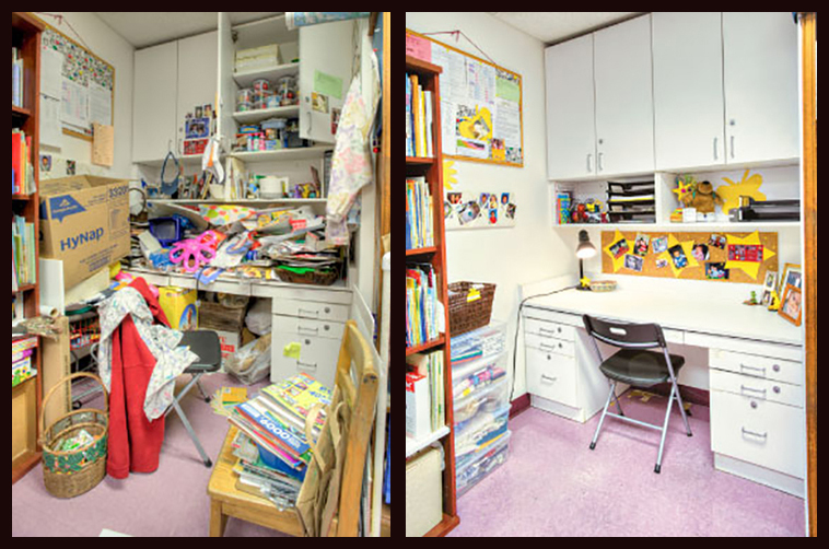 messy desk before and after